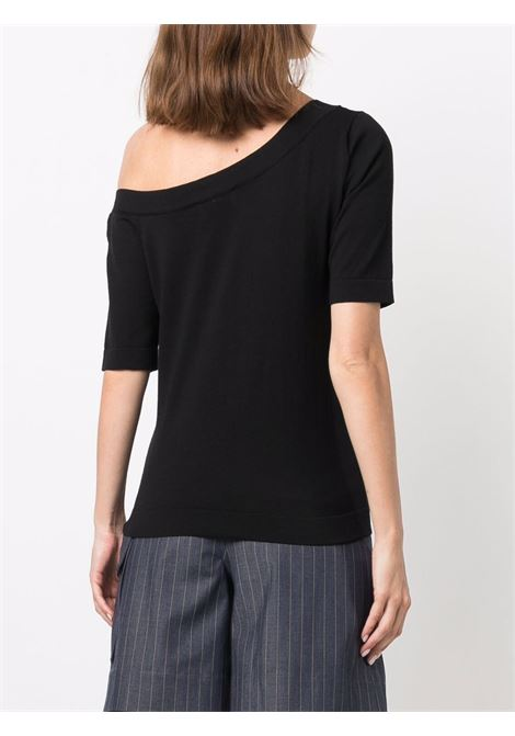 Black silk and cotton one-shoulder knit top  SNOBBY SHEEP      21S.91120999
