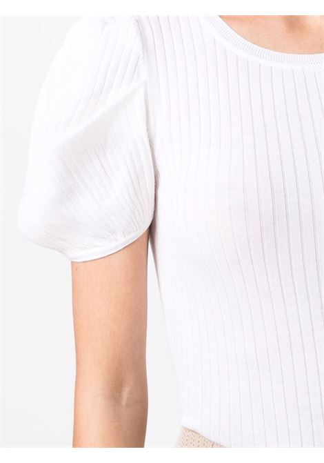 White silk and cotton short-sleeve ribbed top  SNOBBY SHEEP      21S.91140001