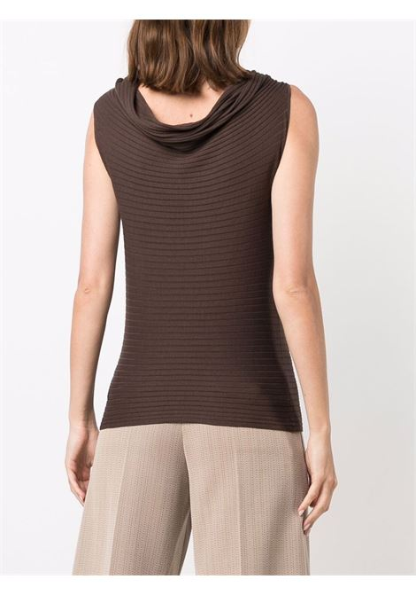 Brown silk and cotton cowl-neck knit sleveless top SNOBBY SHEEP      21S.91160230
