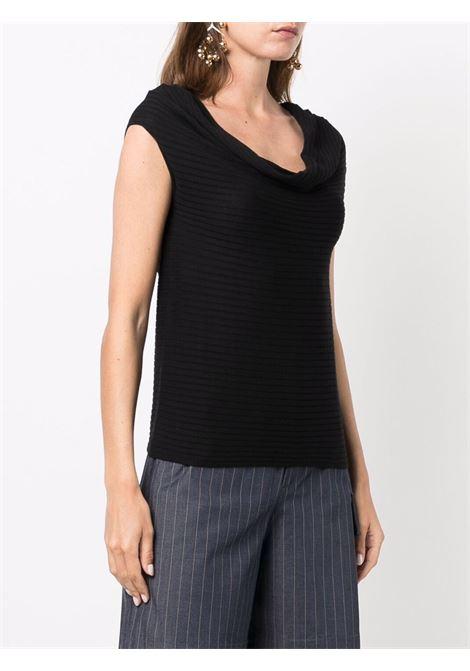 black silk and cotton U-neck sleeveless top  SNOBBY SHEEP      21S.91160999