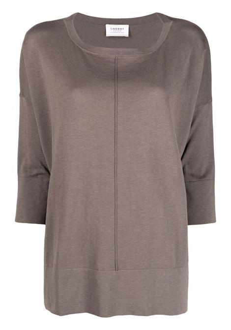 Maglione ampio con cuciture a vista in misto cotone e seta grigio talpa SNOBBY SHEEP | Maglieria | 21S.91200720