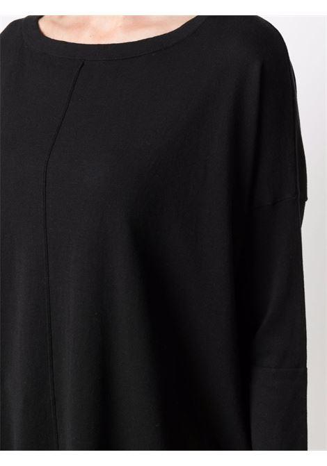 Maglia ampia con cuciture a vista in misto cotone e seta nera con scollo tondo SNOBBY SHEEP | Maglieria | 21S.91200999