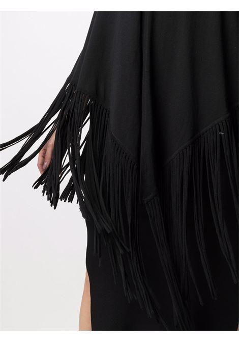 Mantella con frange Frida in misto cotone e seta nera SNOBBY SHEEP | Mantella | 21S.FRIDA/S999