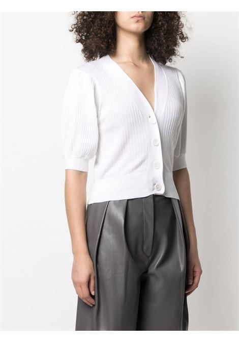 White cotton and silk puff-sleeve buttoned cardigan  SNOBBY SHEEP |  | S21.91130001