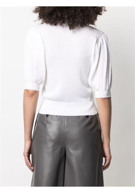 Cardigan abbottonato con maniche a sbuffo in cotone e seta bianco SNOBBY SHEEP | Cardigan | S21.91130001