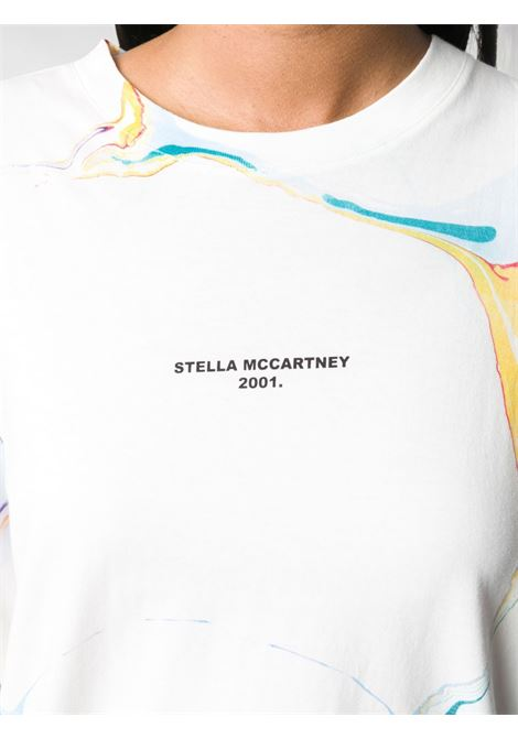 White and multicolour marbled-print cotton T-shirt  STELLA MC CARTNEY |  | 511240-SOW529000