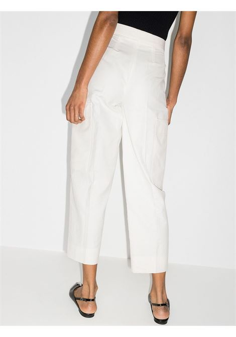 Pantaloni cargo a vita alta affusolati in lino bianco STELLA MC CARTNEY | Pantaloni | 602928-SIA039200