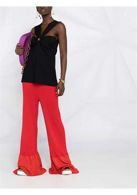 Red cotton rib-knit long-length trousers featuring  high waist STELLA MC CARTNEY |  | 602987-S22476309