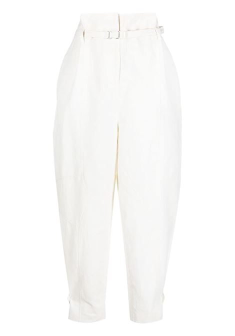 White eco-cotton and linen blend high-waist tapered trousers  STELLA MC CARTNEY |  | 602991-SIA039200