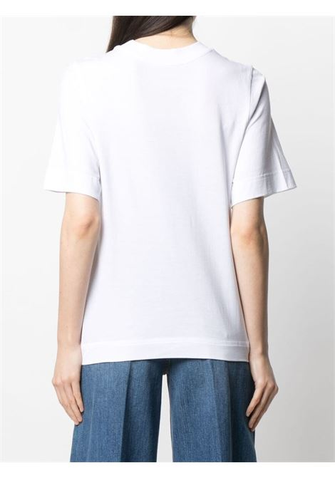 White organic cotton flared T-shirt  featuring Stella McCartney logo print  STELLA MC CARTNEY |  | 603083-SOW709000