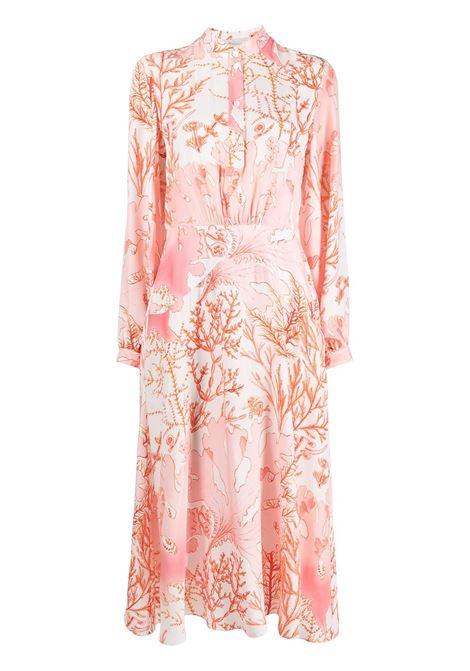 maxi abito in seta con stampa rosso corallo STELLA MC CARTNEY | Abiti | 603102-SRA599515