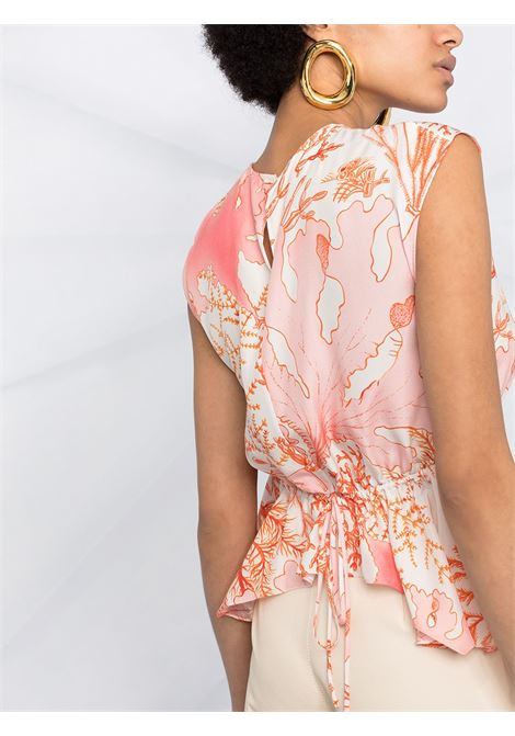 White and pink cotton coral-print peplum blouse  STELLA MC CARTNEY |  | 603123-SRA599515