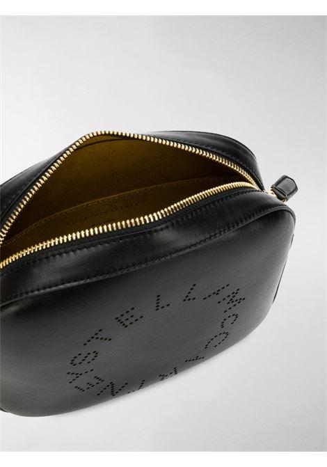 borsa a tracolla nera Stella Logo con logo circolare Stella McCartney traforato sul davanti STELLA MC CARTNEY | Borse a tracolla | 700072-W85421000