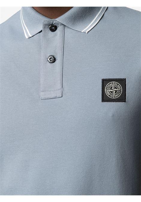 Polo in cotone blu con logo Stone Island STONE ISLAND | Polo | 101522S18V0046