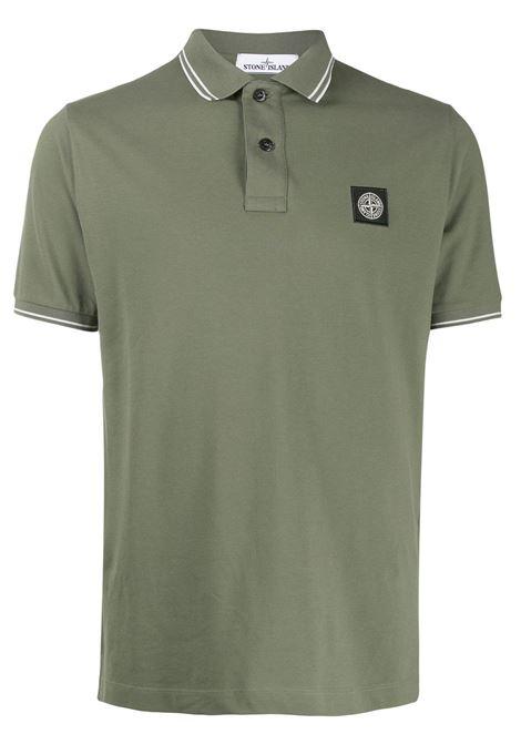 Polo verde in cotone con patch logo Stone Island STONE ISLAND | Polo | 101522S18V0058