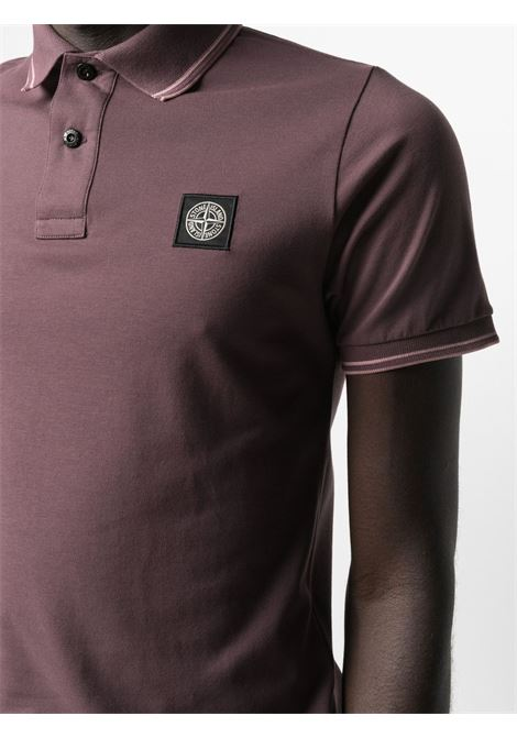 Polo a maniche corte in cotone elasticizzato rosso merlot con logo Stone Island STONE ISLAND | Polo | 101522S18V2011