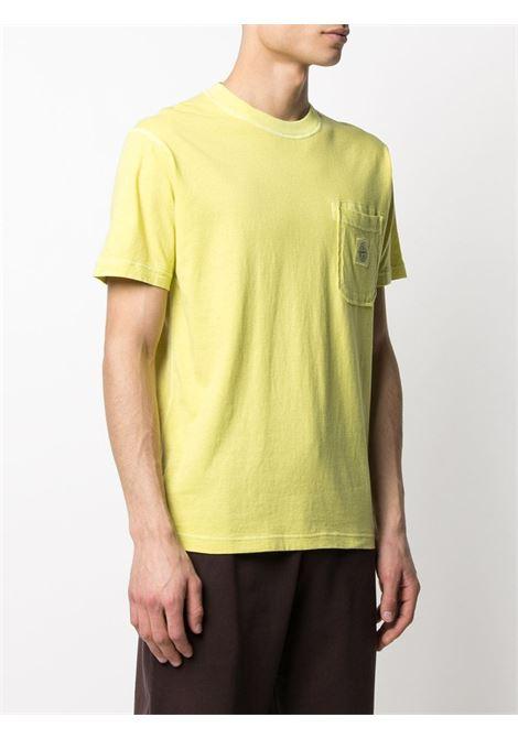 T-shirt a maniche corte in cotone giallo brillante STONE ISLAND | T-shirt | 741521957V0151