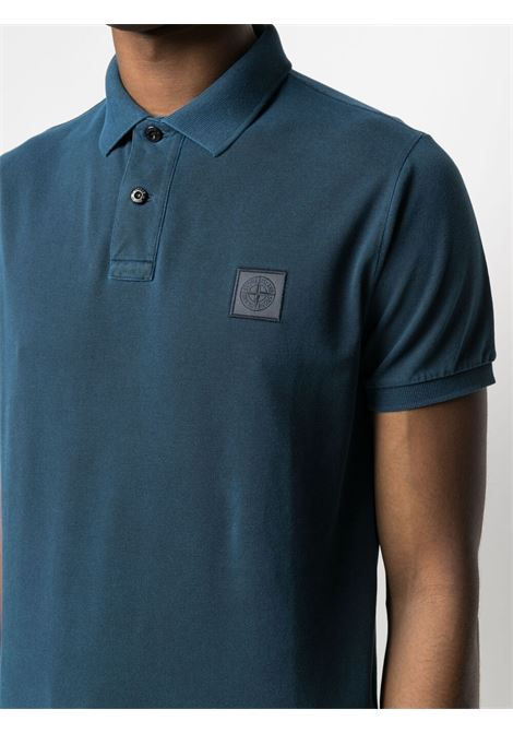 Polo blu in cotone con logo Stone Island STONE ISLAND | Polo | 741522S67V0024