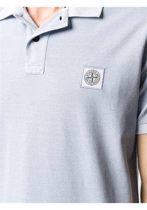 Polo azzurra in cotone con patch logo Stone Island STONE ISLAND | Polo | 741522S67V0041