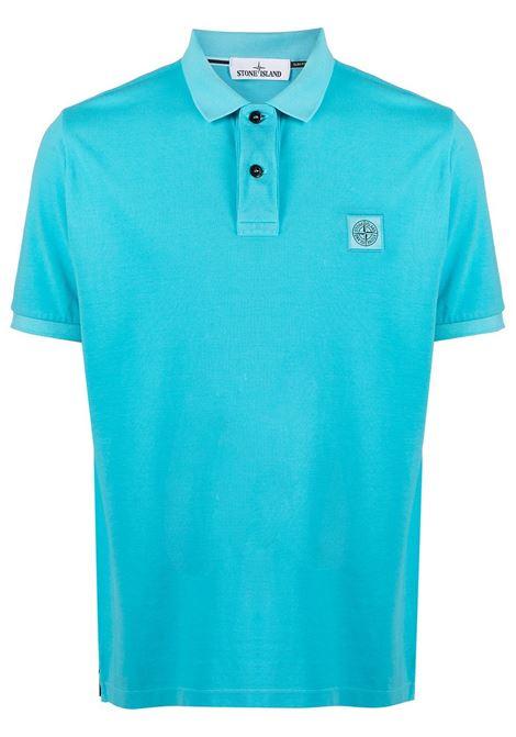 Polo azzurra in cotone con logo Stone Island STONE ISLAND | Polo | 741522S67V0042