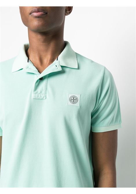 Green cotton polo shirt featuring spread collar STONE ISLAND |  | 741522S67V0044