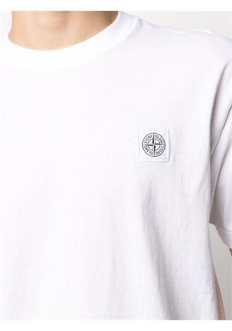 t-shirt in cotone bianco con patch Stone Island STONE ISLAND | T-shirt | 741523757V0001