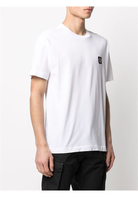 White cotton T-shirt featuring Stone Island logo patch  STONE ISLAND |  | 741524113V0001