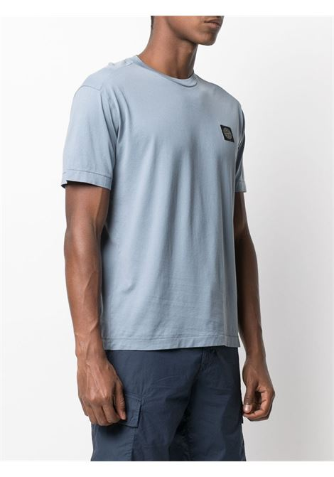 T-shirt girocollo in cotone celeste con logo Stone Island STONE ISLAND | T-shirt | 741524113V0046