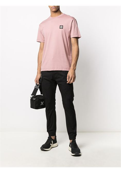 Pink cotton short-sleeve T-shirt featuring round neck STONE ISLAND |  | 741524113V0086