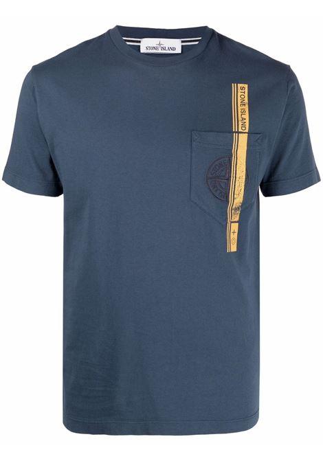 T-shirt in cotone blu con con stampa tape giallo STONE ISLAND | T-shirt | 741524675V0024