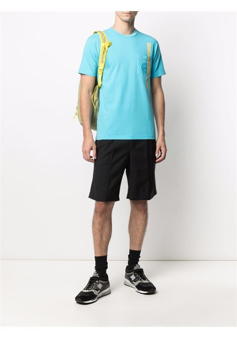 T-shirt in cotone turchese con stampa tape giallo STONE ISLAND | T-shirt | 741524675V0042