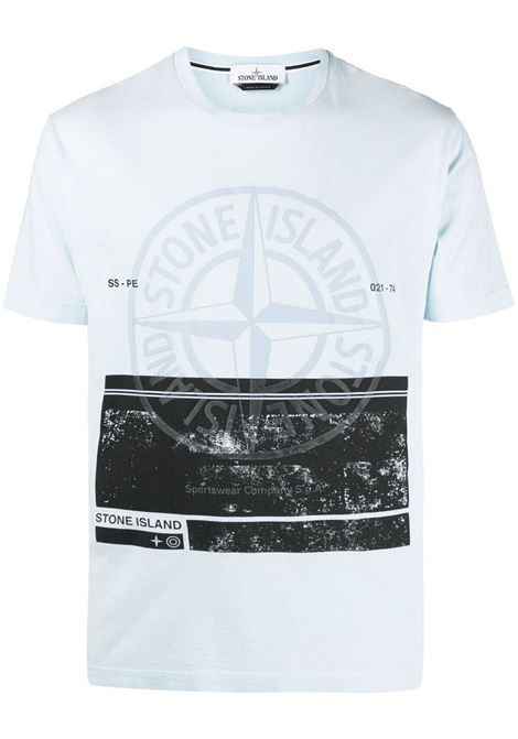 White cotton T-shirt featuring black Stone Island logo print to the front STONE ISLAND |  | 74152NS65V0041
