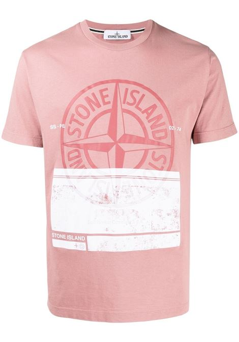 Dust pink cotton T-shirt featuring Stone Island white logo print  STONE ISLAND |  | 74152NS65V0086