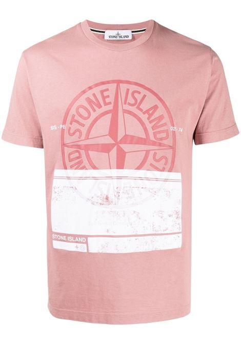 T-shirt in cotone rosa polvere con stampa logo Stone Island bianco STONE ISLAND | T-shirt | 74152NS65V0086