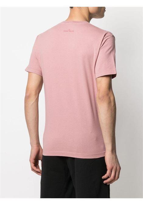 Dust pink cotton T-shirt featuring Stone Island white logo print  STONE ISLAND |  | 74152NS65V0086