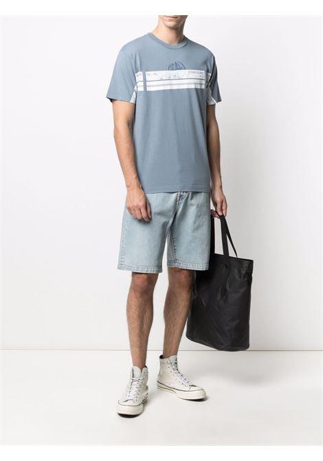 T-shirt in cotone grigio medio con logo Stone Island bianco sul petto STONE ISLAND | T-shirt | 74152NS74V0046