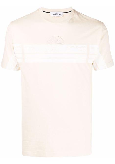 T-shirt gialla in cotone con logo bianco Stone Island ricamato STONE ISLAND | T-shirt | 74152NS74V0093