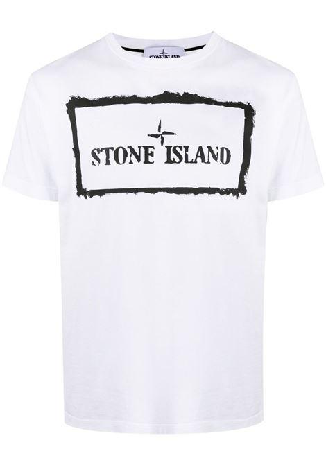 White cotton T-shirt eaturing black printed logo STONE ISLAND |  | 74152NS80V0001