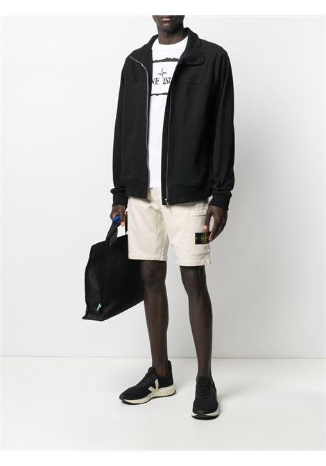 T-shirt in cotone bianco con logo Stone Island nero STONE ISLAND | T-shirt | 74152NS80V0001