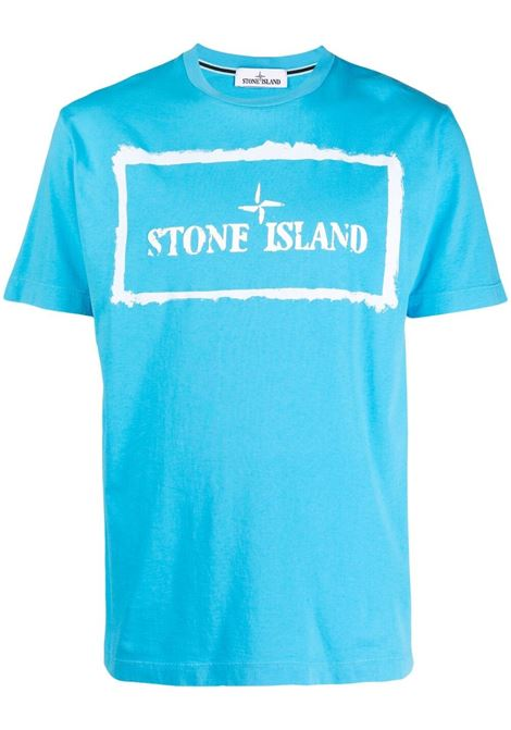Turquoise-blue and white cotton Stone Island logo-print cotton T-shirt  STONE ISLAND |  | 74152NS80V0042