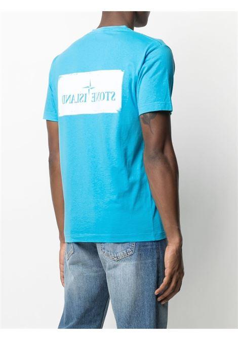 T-shirt in cotone con stampa Stone Island in cotone blu turchese e bianco STONE ISLAND | T-shirt | 74152NS80V0042