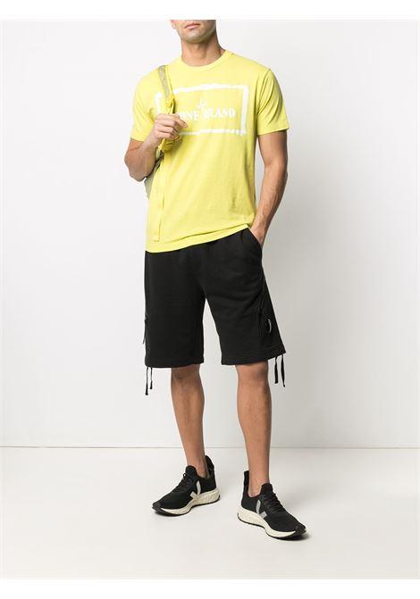 T-shirt gialla in cotone girocollo con stampa Stone Island bianca sul petto STONE ISLAND | T-shirt | 74152NS80V0051