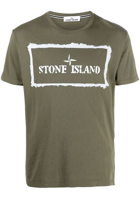 Olive green cotton T-shirt featuring box shaped Stone Island logo print  STONE ISLAND |  | 74152NS80V0058