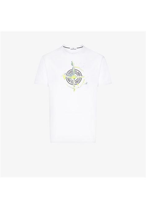 T-shirt a maniche corte in cotone bianco con stampa compasso Stone Island STONE ISLAND | T-shirt | 74152NS83V0001