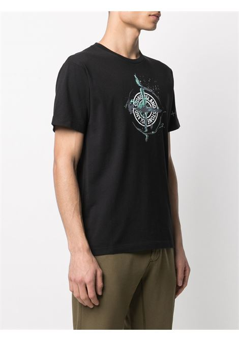 T-shirt a maniche corte in cotone nero con stampa compasso Stone Island STONE ISLAND | T-shirt | 74152NS83V0029