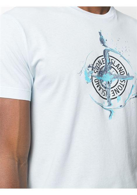 Sky-blue cotton t-shirt featuring Stone Island logo print  STONE ISLAND |  | 74152NS83V0041