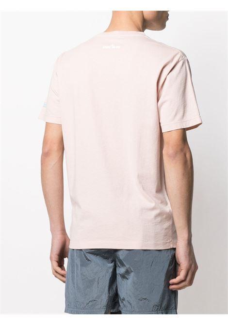 Blush pink cotton T-shirt featuring Stone Island graphic logo print STONE ISLAND |  | 74152NS83V0082