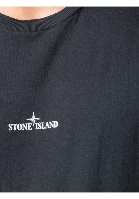 T-shirt in cotone nero con decorazione logata stampata Stone Island STONE ISLAND | T-shirt | 74152NS85V0020
