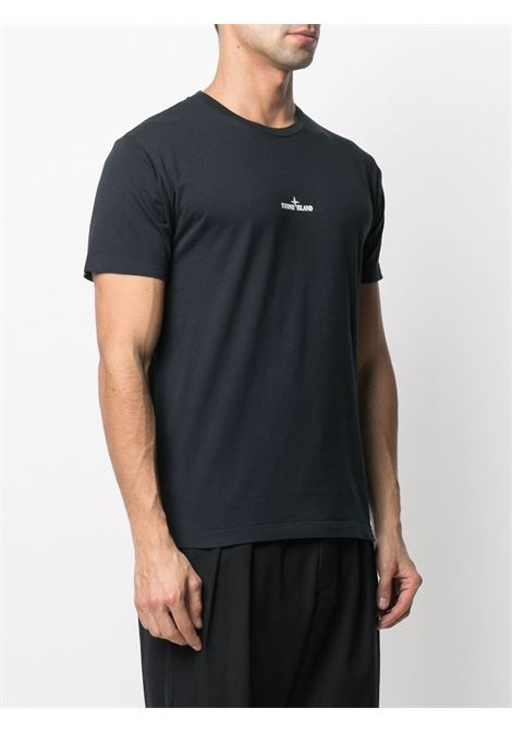 Black cotton T-shirt featuring Stone Island logo print embellishment STONE ISLAND |  | 74152NS85V0020
