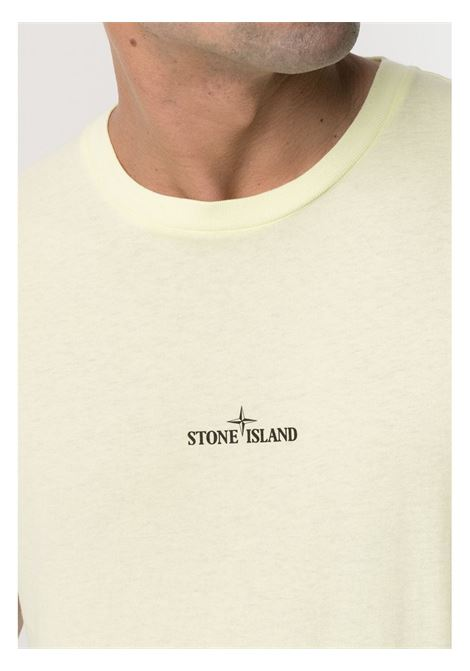 Pale yellow cotton T-shirt featuring front Stone Island logo print STONE ISLAND |  | 74152NS85V0031